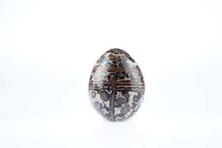 egg shape: Strand of fossil jasper colorful egg  shape on white background.