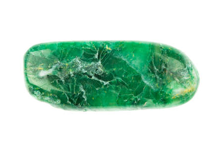 aventurine: Green Nephrite stone on white background