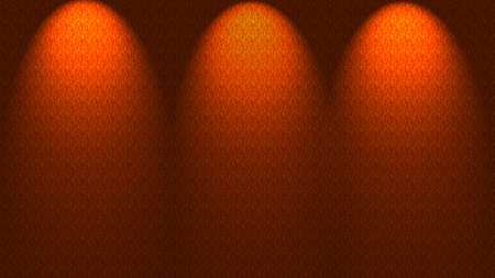 spotlit: Three spotlights shining down onto orange wall, illustration. Stock Photo