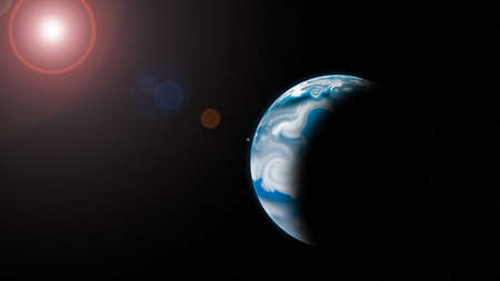 bluet: Bluet planet with Rising Sun in space, Ilustration.