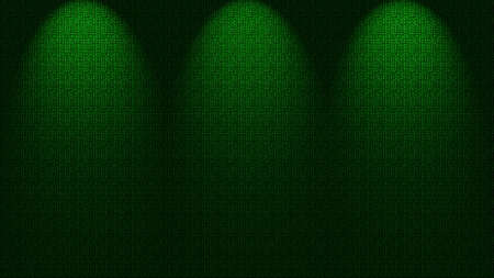 limelight: Three spotlights shining down onto green wall, illustration. Stock Photo