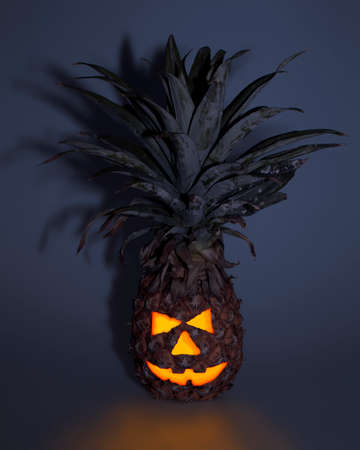 glowing carved: Tropical Jack-o-lantern pinapple helloween decoration glowing Stock Photo