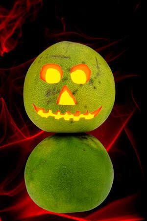 helloween: Tropical Jack-o-lantern Pomelo helloween decoration glowing