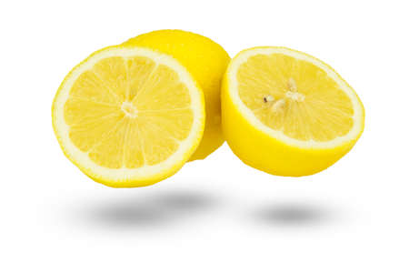 two and a half: Whole lemon and two half slices isolated on white background as package design element