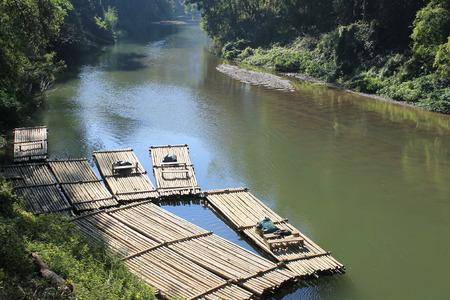 bamboo raft in river