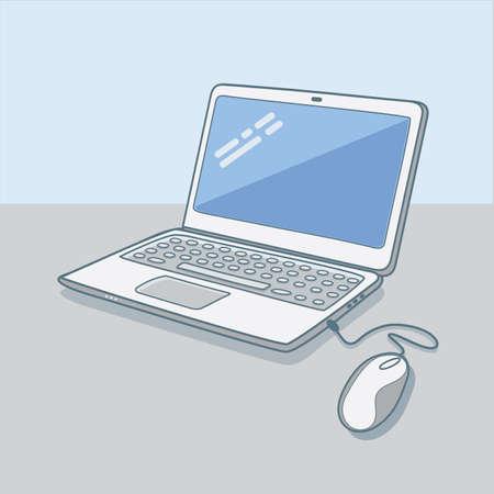 open notebook: hipster laptop vector   illustration