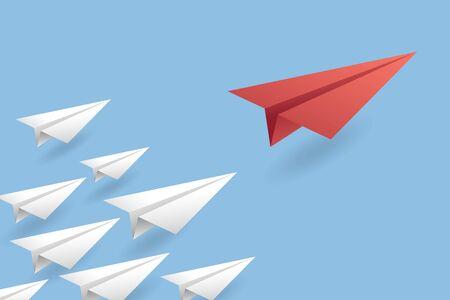 Antecedentes del concepto de liderazgo. Ilustración de vector de avión de aire de papel EPS10