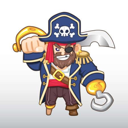 Vector Pirate Captain Illustration