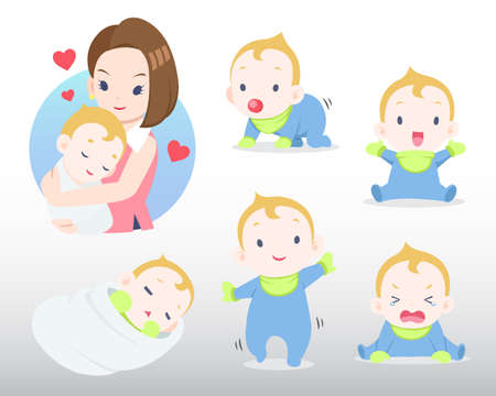 Mother and baby in many actions illustration
