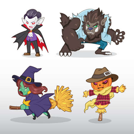 Vampire (Dracula), Werewolf, Witch and Pumpkin Scarecrow cartoon Illustration Illustration