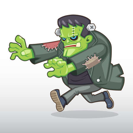 Frankenstein monster chasing someone illustration