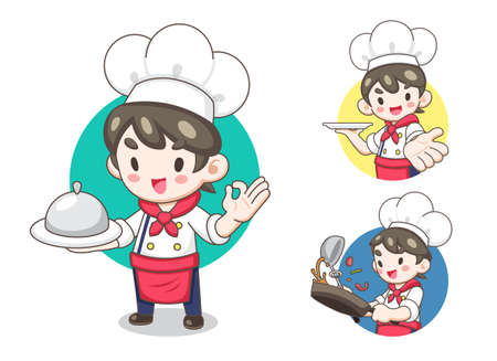 Cute Chef in cartoon style illustration on white background. Illustration