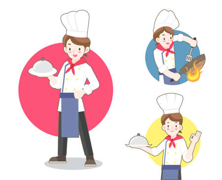 Young chef in flat style illustration