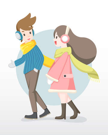 Man and woman enjoy talking to each other illustration.
