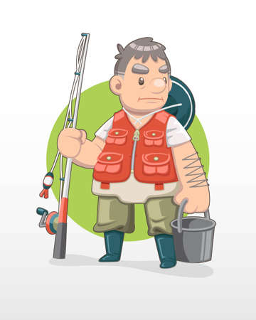 Cute cartoon old fisherman illustration with circle background
