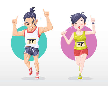 Smiling man and woman marathoner while running Banque d'images - 96850986