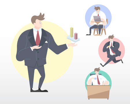 Set of a Business Man in many movement illustration [Present, Working, Transporting, Relax] in flat modern style