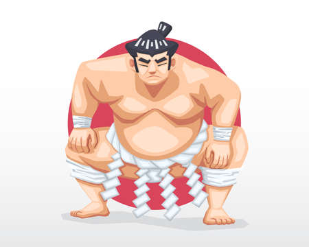Serious face Sumo standing in crouch stance with red circle as background illustration