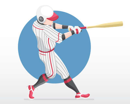 Flat style baseball player in red team shirt in full swing action illustration Vectores