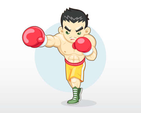 Cute cartoon style boxer right punching illustration