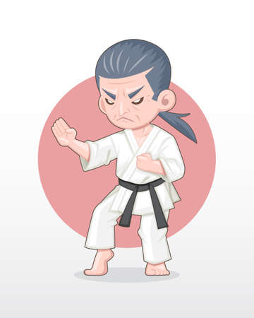 Cute cartoon style old man [serious face] Karate master in fighting stance illustration