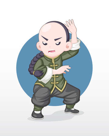 Cute style adult Kung Fu fighter in fighting stance illustration. Illustration