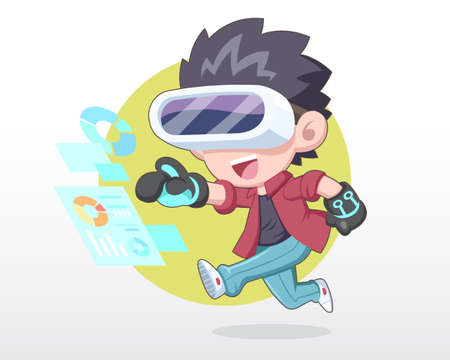 Happy man in cute style wearing VR headset with exciting expression