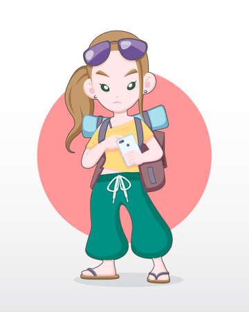 Cute style Female tourist icon