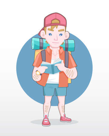 Cute style male tourist with backpack reading guidebook illustration