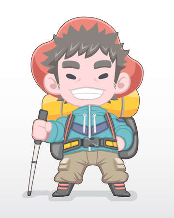 Cute style red hat hiker man smiling and standing illustration.