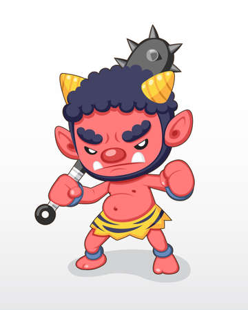 Cute style Red Japanese two horns Demon standing illustration