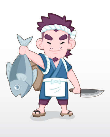 Cute style Japanese fisherman standing proudly with a big ocean fish in his hand