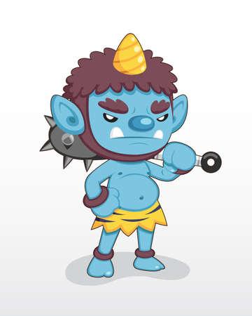 Cute style Blue Japanese single horn Demon standing illustration
