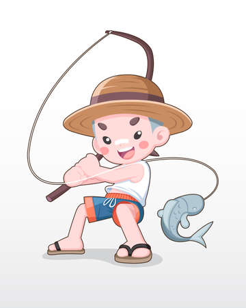 Cute style Japanese Boy with a Wood Fishing Rod illustration