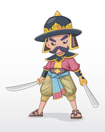 Ancient Thai beard warlord standing holding dual sword illustration Illustration
