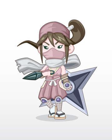 Cute Style Girl Ninja with Kunai and Shuriken Illustration Illustration