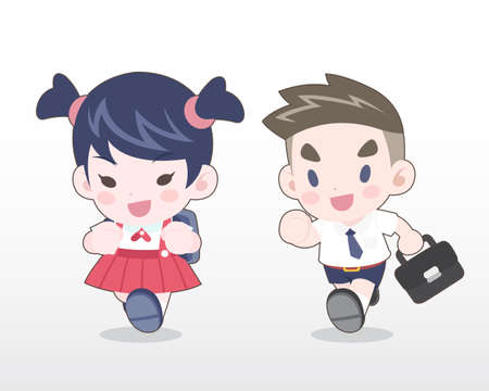 Cute Style Young Thai students [boy and girl] running Illustration