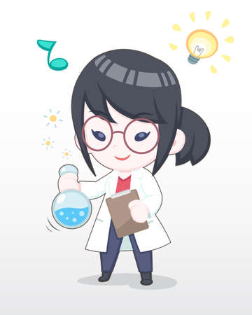 Cute Style Happy Scientist Girl Experimenting Chemistry Illustration Illustration