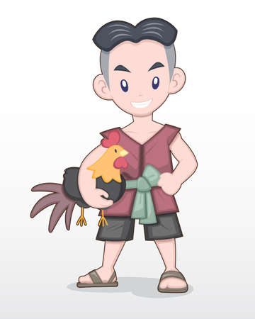 Cute Style Cartoon Thai Man in Traditional Outfit holding a fighting cock Illustration