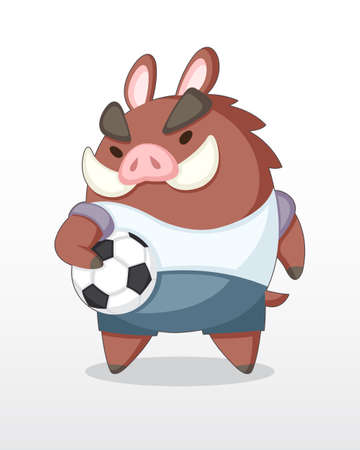 Cute Cartoon Little Wild Boar Soccer Player Standing and holding ball Illustration Illustration