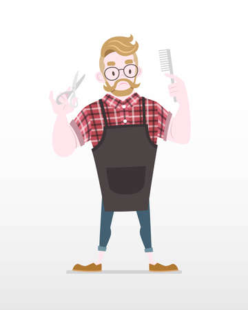 Cute Flat Style Hipster Barber with tools in both hands Illustration