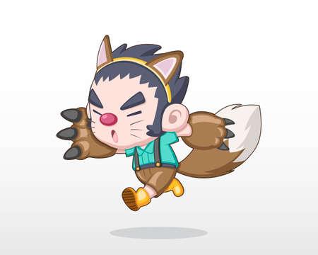 Cute Style Child in Halloween Day Costume [Werewolf] Illustration