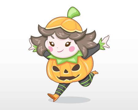 Cute Style Girl in Halloween Day Costume [Pumpkin] Illustration