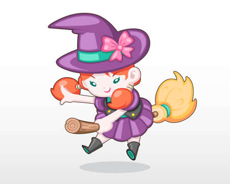 Cute Style Girl in Halloween Day Costume [Witch] Levitating Illustration