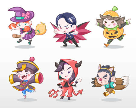 Cute Style Set of Boys and Girls dressing in Halloween Costume Vector Illustration Illustration