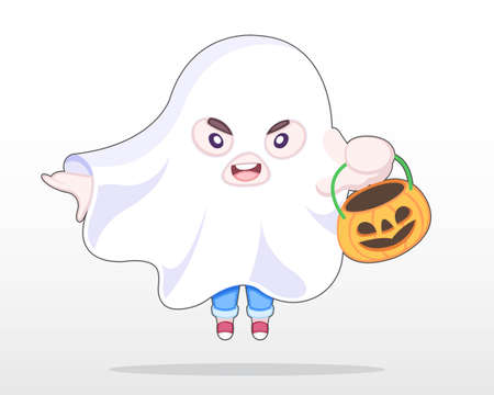 Cute Style Boy dress in Ghost Halloween Costume Jumping Illustration