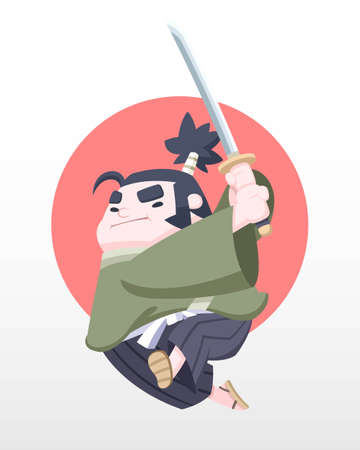 Cute style determined Japanese chubby samurai jumping with katana in his hand vector illustration