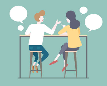Flat style couple talking to each other on bar stools with chat bubble illustration
