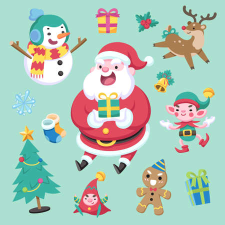 Flat cute style colorful christmas character and element on green background vector illustration Illustration