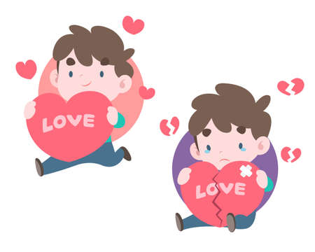 Cute pastel style two men holding big hearts in different mood vector illustration
